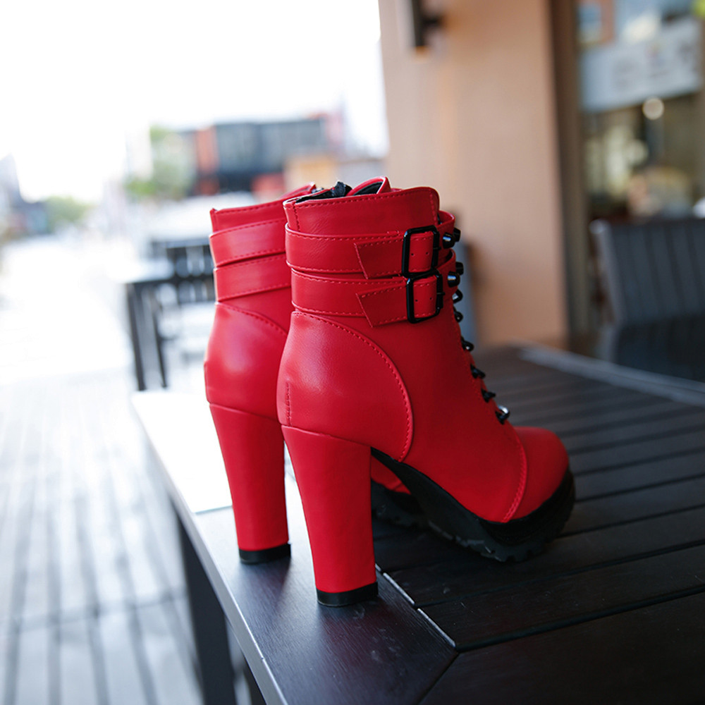 YOUYEDIAN Women Boots 2018 Ankle Boots For Women Lace Up Square Heel Winter Shoes Casual Super High Heel Boots Botas Mujer 6