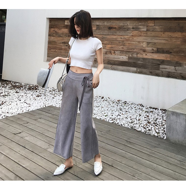 2019 New Lace-Up Wide Leg   Pants   Sashes Women Spring Autumn Vintage Solid High Waist   Pants   Casual Loose Trousers
