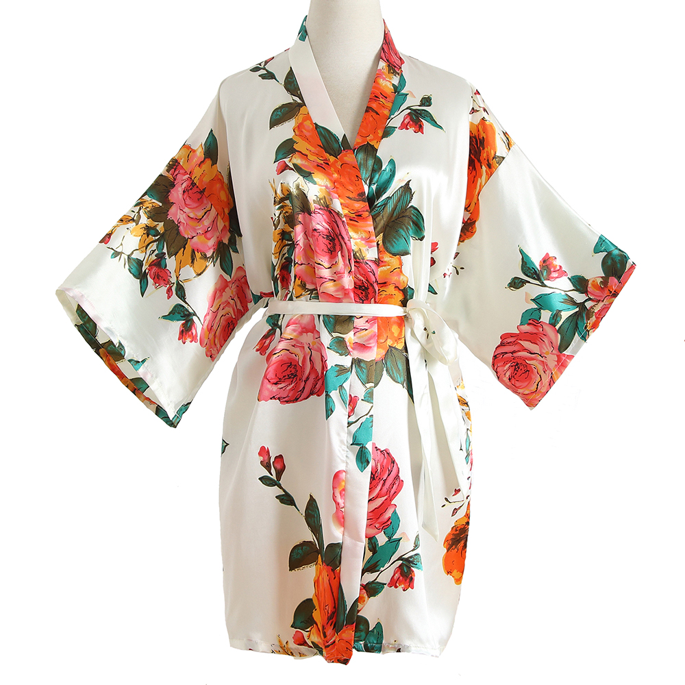 Flower Rayon Satin Sleepwear Kimono Dress Geisha Bathrobe Sexy Bride Bridesmaid Wedding Robe Floral Lady Nightgown Nightdress
