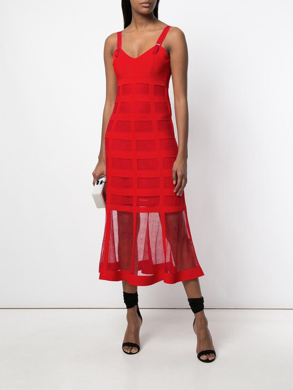 c290b809dff Robe Sexy Bandage Rouge Mesh Celebrity Spaghetti Party Long En Robes Starp  Élégant Corps Con cou Femmes ...