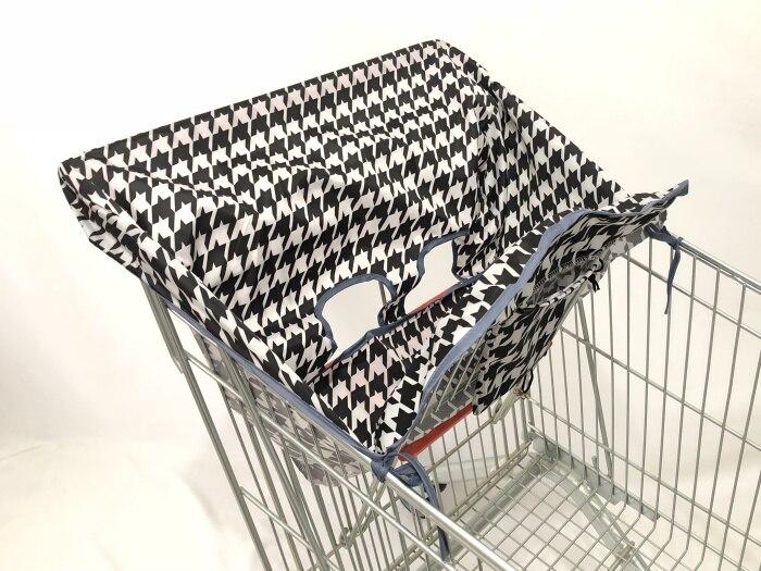 2в1 чехол на колесиках/Чехол на стульчик для кормления для младенцев и малышей/детский коврик на подушку для супермаркета корзина для покупок - Цвет: black and white