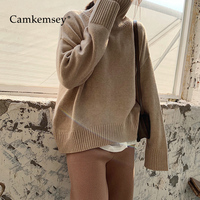 Camkemsey Autumn Winter Thick Warm Knitted Sweater Women 2019 Korean Brief Casual Turtleneck Loose Sweater Femme Pull