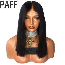 PAFF Straight Lace Front Human Hair Wigs For Black Women Brazilian Remy Hair Short Bob Wigs With Pre Plucked Hairline Baby Hair