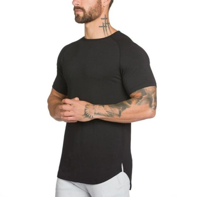 2020 New Brand Clothing Mens Black short sleeve t shirt Hip Hop extra long tops tee tshirts for men cotton gyms t-shirt 1