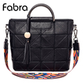 Fabra 2017 New Fashion Women Diamond Lattice Bag Tassel Sheepskin Leather Tote Geometry Handbag Business Geometric Shoulder Bag