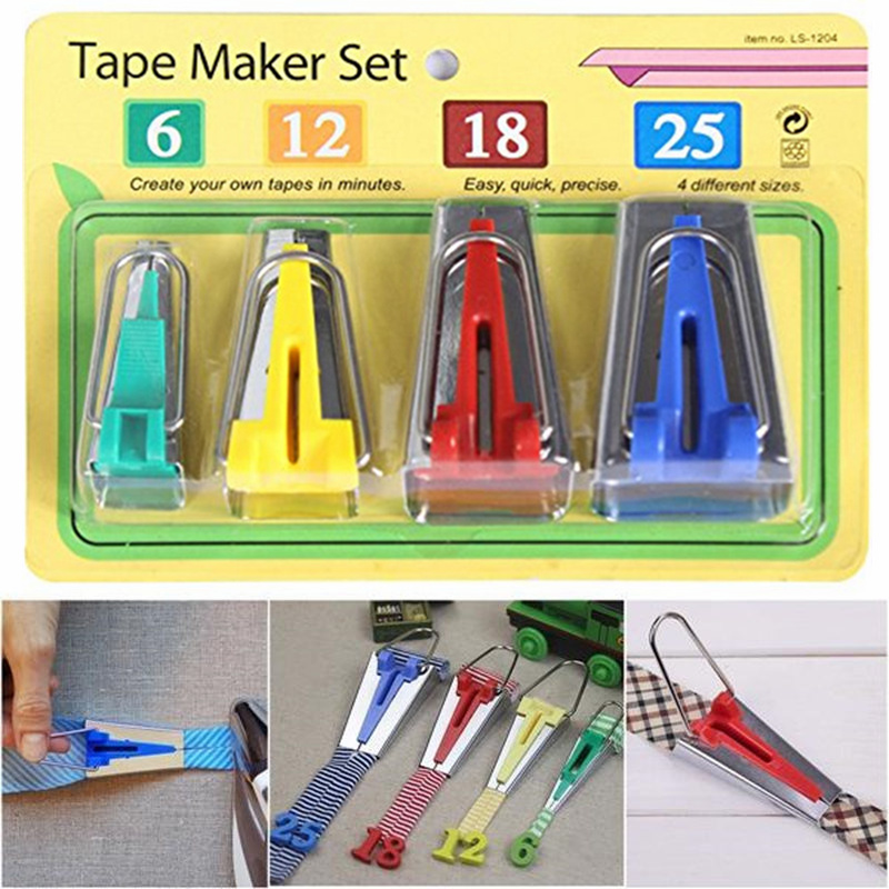 Set of 4 sizes Sewing Accessories Bias Tape Makers - 4 size 25mm 18mm 12mm 6mm Sewing Quilting Hemming Sewing Tools AA7680(China)