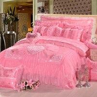 Новый Постельное белье хлопок сатин дрель розовый жаккард Стёганое одеяло Чехлы для мангала 7 шт. Главная Свадебные роскошь и удобная Домаш