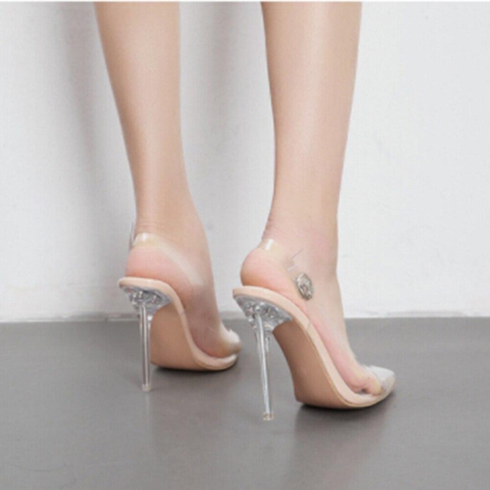 Femmes parti chaussures discothèque pompe clair PVC Transparent pompes sandales Perspex talon talons aiguilles pointe orteils taille 35-40