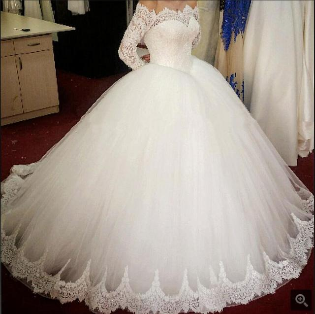 2017 attractive wholesale ball gown white lace winter wedding dress ...