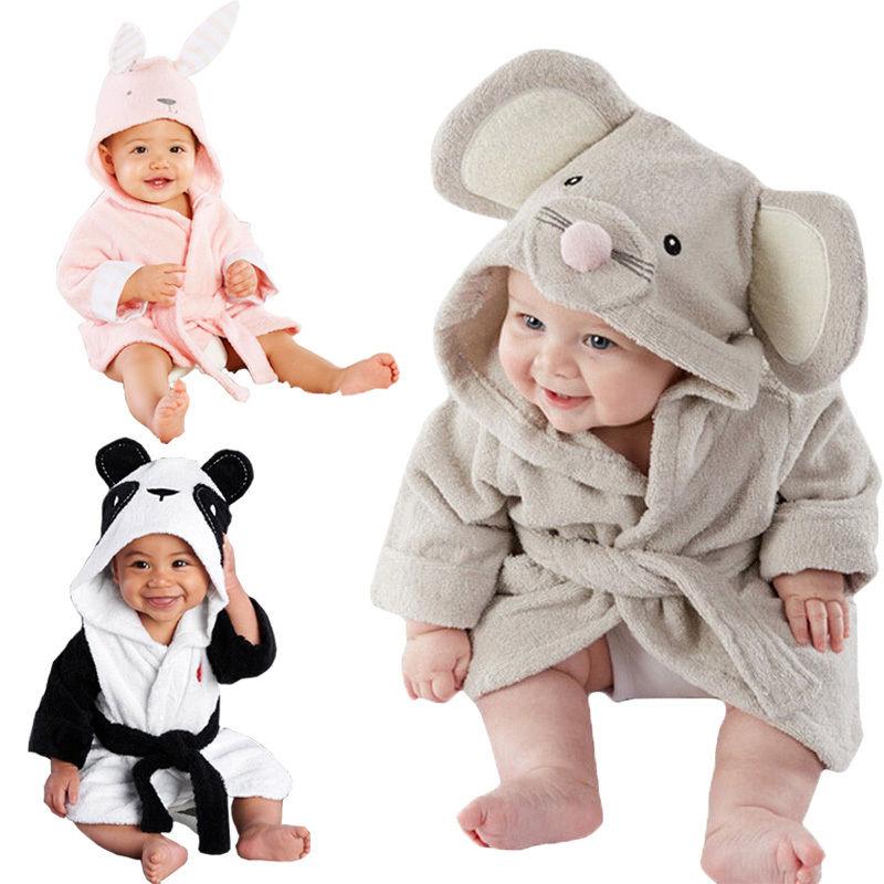 ab3eb545d8 Cute Animal Cartoon Baby Kid Hooded Bathrobe Toddler Boy Girls Bath ...