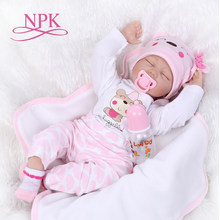 NPK 16'' 40cm silicone vinyl reborn baby doll children playmate doll soft real touch toys for gift on Birthday and Xmas(China)