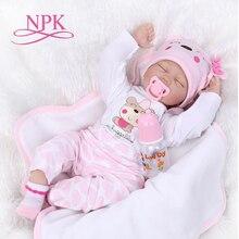 Npk boneca realista reborn, bebê de 16 40cm em vinil e silicone com toque macio, brinquedo para presente infantil aniversário e natal