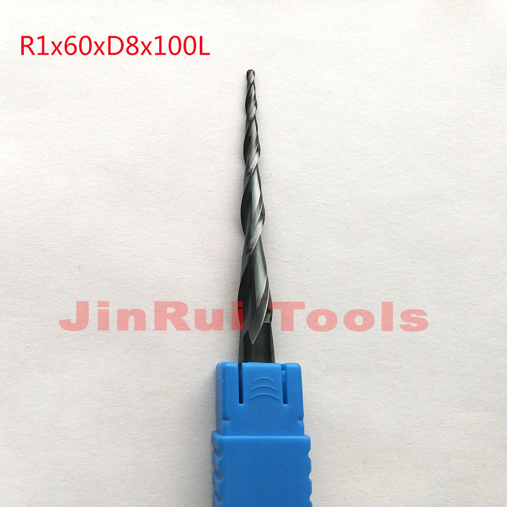 1pc R1*D8*60*100L*2F HRC55 Tungsten solid carbide Coated Tapered Ball Nose End Mills CNC milling cutters knife 1pc r1 0 d8 60 100l 2f hrc55 tungsten solid carbide coated tapered ball nose end mills cone milling cutter wood knife tools