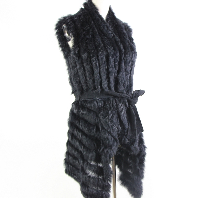 Autumn Hot Sale Knitted Natural Fur Shawl Rabbit Fur Vest Fashion Fur Cape Rabbit Fur Poncho with Belt womens sweatet