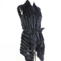 Autumn Hot Sale Knitted Natural Fur Shawl Rabbit Fur Vest Fashion Fur Cape Rabbit Fur Poncho with Belt women's sweatet