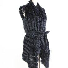 Mùa Thu Bán Dệt Kim Lông Tự Nhiên Khăn Choàng Lông Thỏ Áo Vest Thời Trang Lông Thú Mũi Lông Thỏ Đuôi Nơ Kèm Thắt Lưng Nữ sweatet