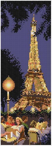 Vyšívání, kutilský čínský křížový steh, sada pro vyšívací soupravu, scénický, noc, strom, Eiffelova věž, město sčítané křížovým stehem