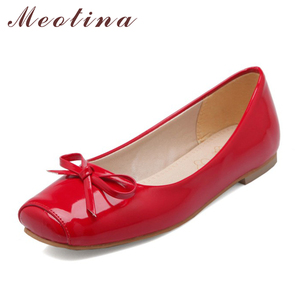 Image 1 - Meotina Women Shoes Ballet Flats Women Flats Bow Square Toe Ballerina Flat Boat Shoes Loafers Shoes Big Size 33 46 Zapatos Mujer