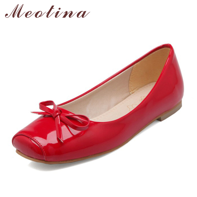 Meotina Women Shoes Ballet Flats Women Flats Bow Square Toe Ballerina Flat Boat Shoes Loafers Shoes Big Size 33 46 Zapatos Mujer