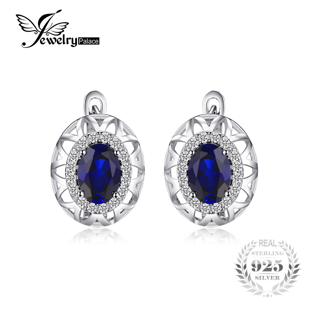JewelryPalace Unique Design 2 4ct Created Blue Sapphire Clip On Earrings 925 Sterling Silver Fine Jewelry