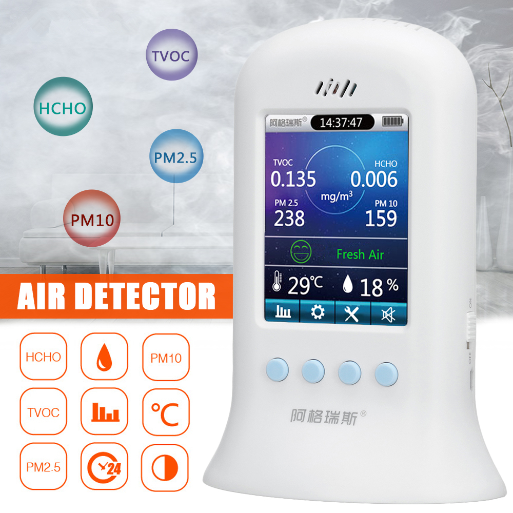 Multi-function Indoor Air Quality Meter Outdoor Detector Accurate Formaldehyde(HCHO) TVOC Logger Monitoring PM2.5/PM10 Detector free shipping portable formaldehyde indoor air pollutants tvoc detector from ohmeka