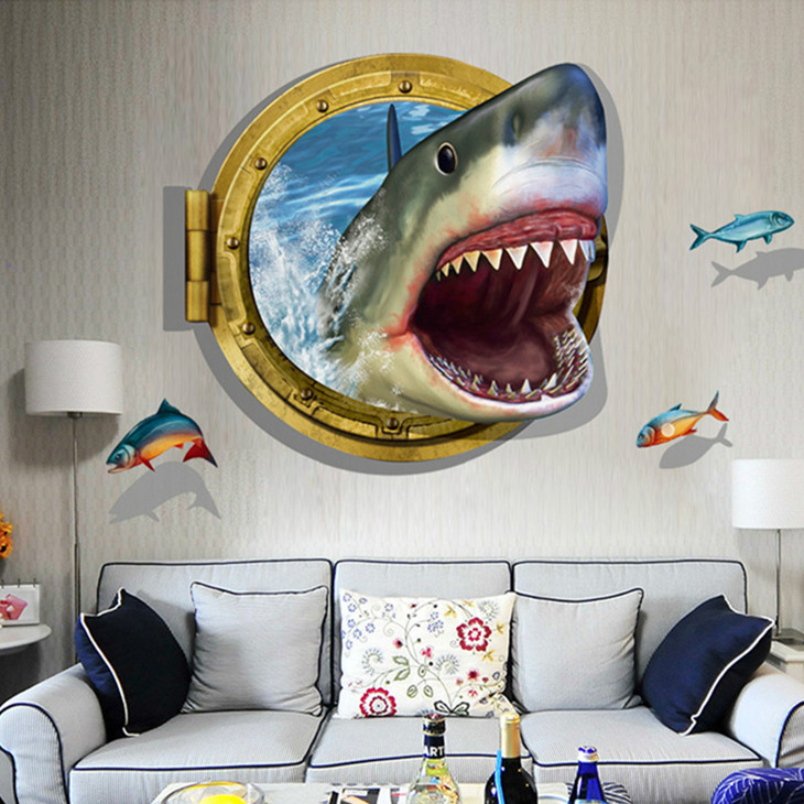 Latest Amazing 3d Shark Wall Stickers Home Decor For Guys Room Adventure Wallpaper Movie