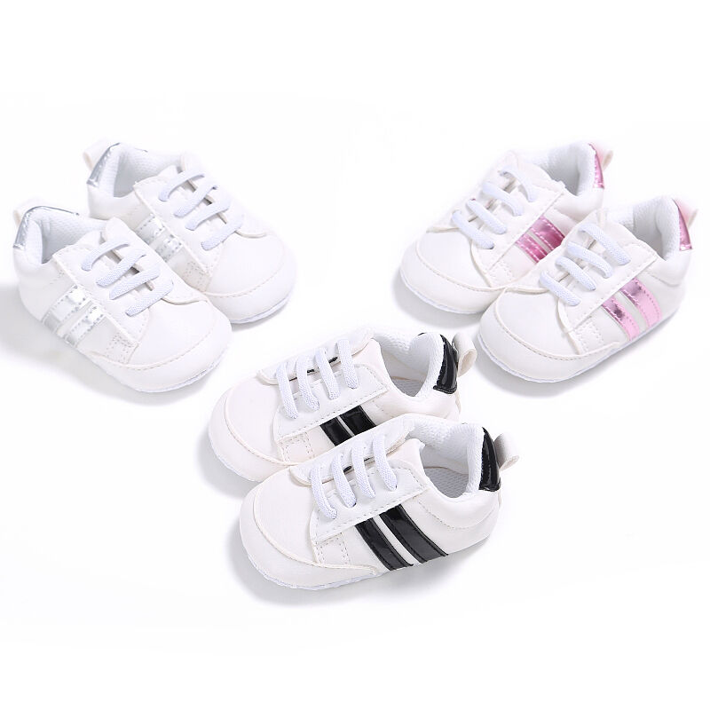 CANIS Kids Baby Unisex Crib Shoes Lace Up Soft Sole Comfort PU Casual Cross Tied Lovely Comfortable Prewalker Shoes