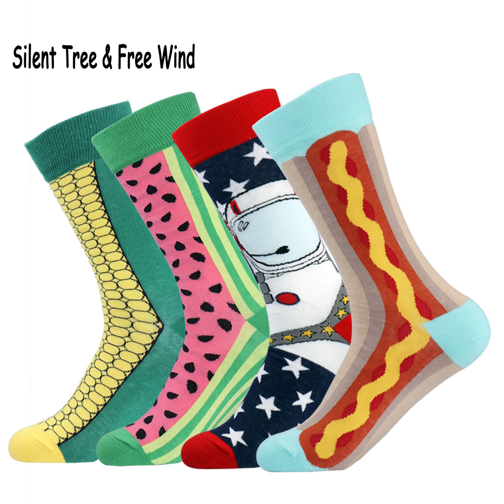 Brand Funny Men Women Fruit Cartoon Cotton Crew Socks British Happy Watermelon Corn Noodle Spacemen Hot Dog Long Socks