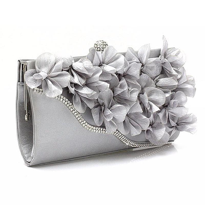Clutch-Bag Flower Chain-Shoulder Wedding-Purse Satin Handbag-Colors:silver Lady