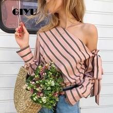 GIYU Women Sexy Tie-up Shirts Long Sleeve Striped Tops Casual Slash Neck Blouse Bow camiseta mujer