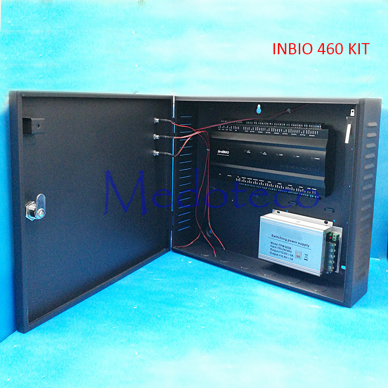 Inbio460 fingeprint and card access control panel TCP/IP Four Door Security Access System +12V5A battery function power supply  inbio460 fingeprint and card access control panel tcp ip communication use rs485 connect with fr1200