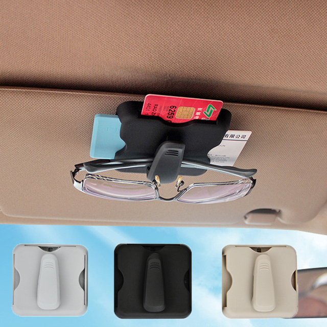 Car Sun Visor Sunshade Bag Sunglasses Clips Box Organizer Case Stowing Tidying Storage Bags Card Holder Clip Auto Accessories
