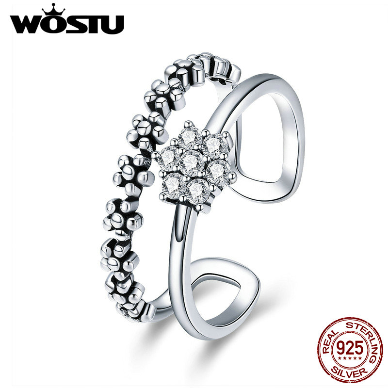 WOSTU Real 925 Sterling Silver Dazzling Stackable Flower Open Finger Rings For Women Party Engagement Silver Ring Jewelry CQR428