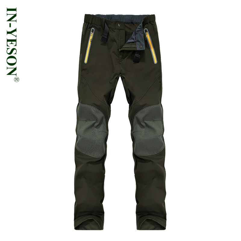 Autumn Winter Men's Softshell Camping & Hiking Pants Men Elastic Waist Waterproof Outdoor Sports Trousers Trekking Running Ski men warm autumn winter softshell hiking pants waterproof windproof outdoor trousers sports camping trekking fishing pants rm044