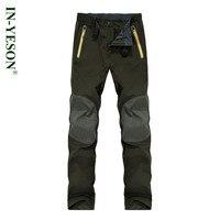 Autumn Winter Men's Softshell Camping & Hiking Pants Men Elastic Waist Waterproof Outdoor Sports Trousers Trekking Running Ski