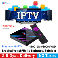 H96 max android 9.0 tv box RK3318 4gb set top box europe france spain arabic India Support m3u Free one month IPTV subscription