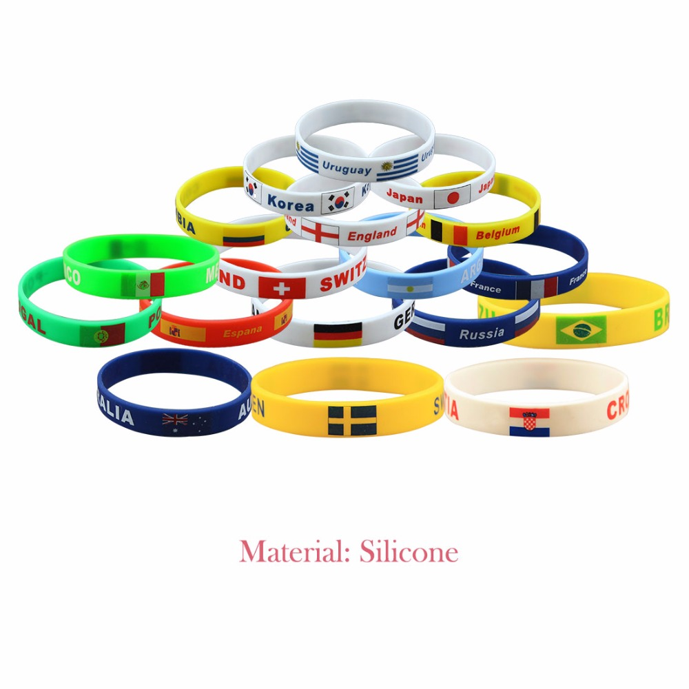 Fans Bracelet  2018 Russia World Cup Football National Flag Soccer Fan Accessories Silicone Bracelet Cheerleading Supplies Gifts