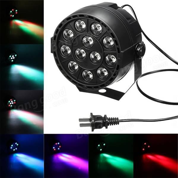 Superventas portátil Mini AC 90-240 V 12W etapa Par lámpara 8CH 12 LEDs RGB RGBW Color mezcla etapa iluminación efecto luz