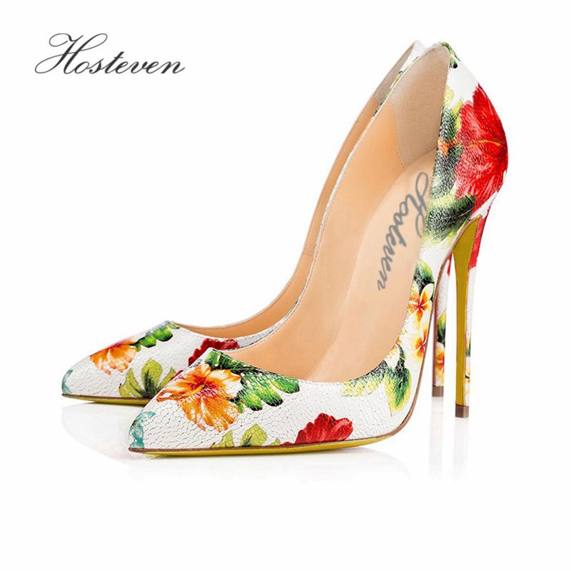 Hosteven Women' Shoes Sexy High Heels Pumps Pointed Toe Party Woman Wedding Office Pumps Genuine Leather Shoes Plus Size 34-46 bowknot pointed toe women pumps flock leather woman thin high heels wedding shoes 2017 new fashion shoes plus size 41 42