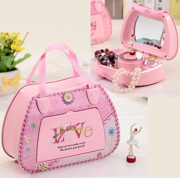 Dream Girl Music Box Mechanism Jewelry Box Organizer Hand Crank Ballerina Music Jewelry Box with Mirror Birthday Valentine Gift