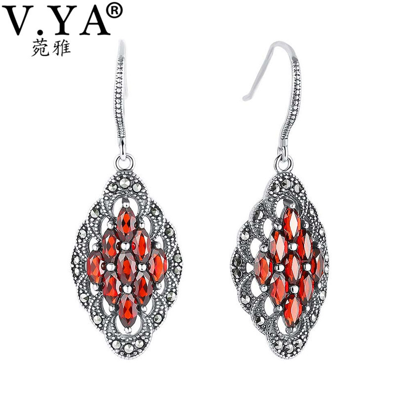 V.YA Genuine 925 Silver Jacinth Garnet Drop Earrings Luxury Women Wedding Jewelry Rhombus Shape Nature Stone Dangle Earrings 1 pair water drop shape opal crystal earrings dangle earrings gem stone jewelry druzy er307