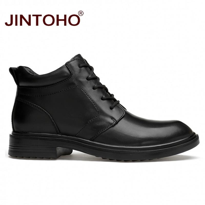 Ayakk.'ten Basic Çizmeler'de JINTOHO erkekler hakiki deri çizmeler büyük boy erkek ayak bileği deri çizmeler kış erkekler hakiki deri ayakkabı kışlık botlar Bota Masculina'da  Grup 2