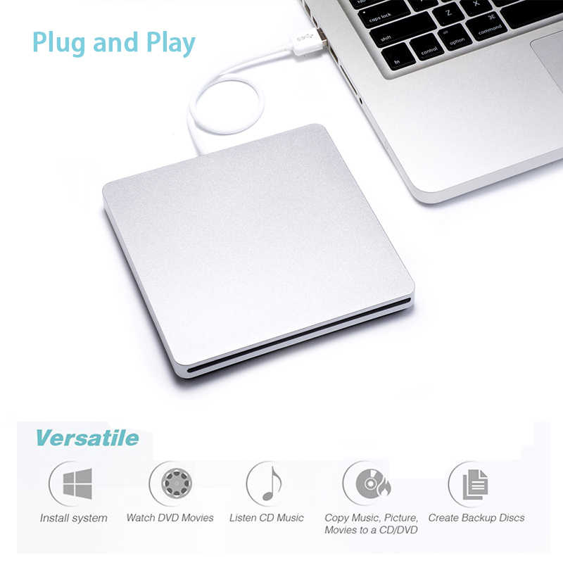 Eksternal Slot DVD Burner USB 2.0 DVD-RW Driver DVD Drive Optik Burner Drive SuperDrive untuk Apple MacBook Air Bermain musik