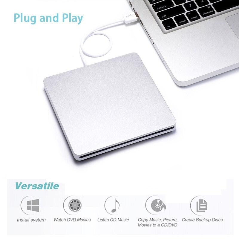 Emplacement externe dans le graveur DVD USB 2.0 DVD-RW lecteur DVD lecteur optique lecteur de brûleur Superdrive pour Apple MacBook Air jouant de la musique