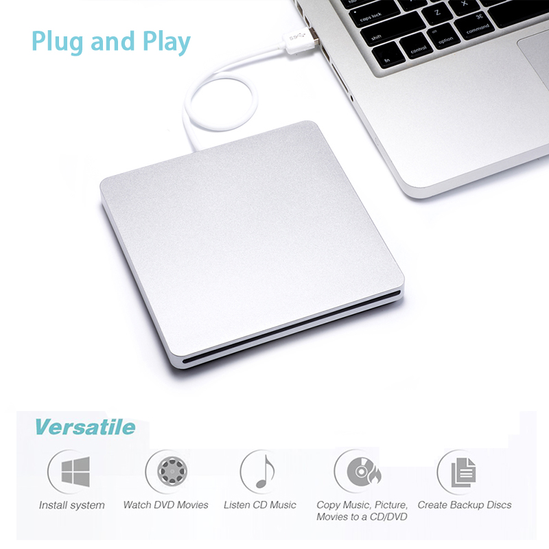 External Slot in DVD Burner USB 2.0 DVD-RW Driver DVD Optical Drive Burner Drive Superdrive for Apple MacBook Air Playing Music