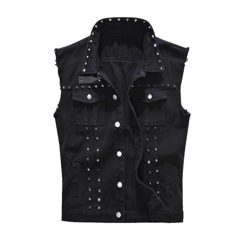 SHUJIN 2019 Denim Vest Men Punk Rock Rivet Cowboy Black Jeans Waistcoat Fashion Men Motorcycle Style Sleeveless Jeans Jacket