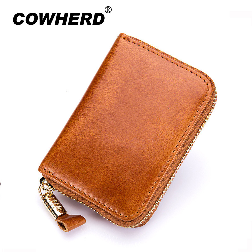 Oil Wax Top Layer Cow Leather Women Card Holder Zipper Large Capacity Female ID Credit Card
