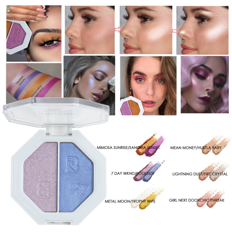 Double Colors Highlighter Powder Makeup Brighten Skin Color Lasting Bronzer Eyeshadow Pallete Face Pigmented Make Up Cosmetics