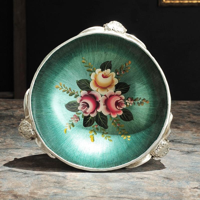 Dipinto di verde ornamenti della resina piatto di frutta piatto di frutta decorazione Arredamento Per La Casa giardino soggiorno tavolino - 2