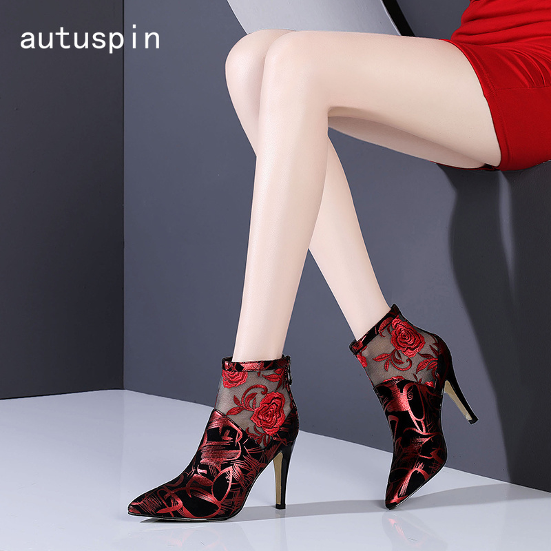 Autuspin Elegant High Heels Womens Boots Fashion Pointed Toe Sexy Ankle Boots Women 2019 Breathable Summer Retro Shoes WomanAutuspin Elegant High Heels Womens Boots Fashion Pointed Toe Sexy Ankle Boots Women 2019 Breathable Summer Retro Shoes Woman